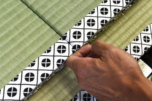 detail of tatami making, example of precision required